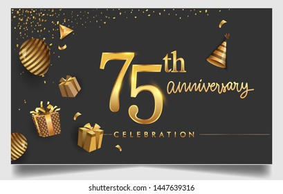 75th years anniversary design for greeting cards and invitation, with balloon, confetti and gift box, elegant design with gold and dark color, design template for birthday celebration.