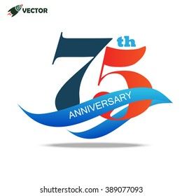 75th years anniversary label and sign with ribbon, vector and illustration