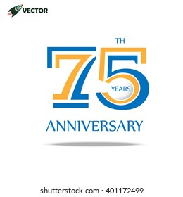 75th years anniversary label and sign, vector and illustration