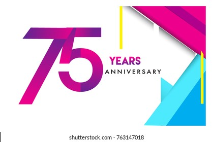 75th years anniversary logo, vector design birthday celebration with colorful geometric isolated on white background.