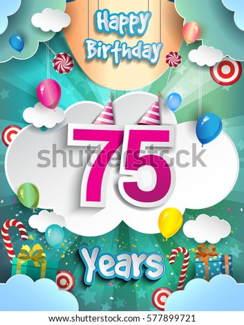 75th Years Birthday Design For Greeting Cards And Poster With Clouds Gift Box