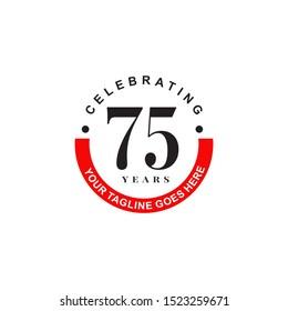 75th years celebrating anniversary emblem logo design illustration icon vector template