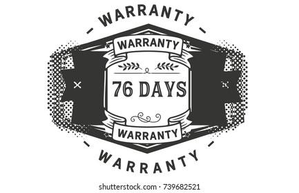 76 days warranty icon vintage rubber stamp guarantee