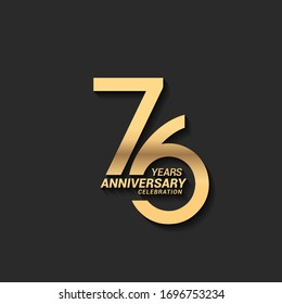 76 years anniversary celebration logotype with elegant modern number gold color for celebration