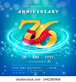 76 years anniversary logo template on blue Abstract futuristic space background. 76th modern technology design celebrating numbers with Hi-tech network digital technology concept design elements.