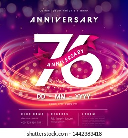 76 years anniversary logo template on purple Abstract futuristic space background. 76th modern technology design celebrating numbers with Hi-tech network digital technology concept design elements.