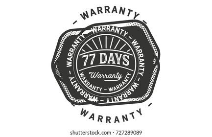 77 days warranty icon vintage rubber stamp guarantee