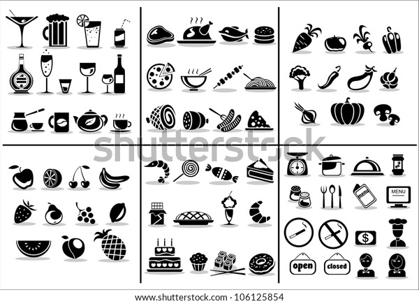 77 food and drink icons set for white background