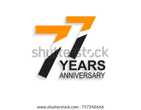 77 Years Anniversary Simple Design White Stock Vector Royalty Free