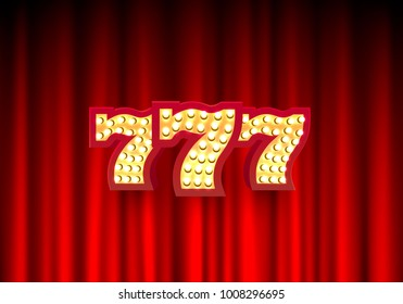 777 casino banner text on the background of the scene. Vector illustration