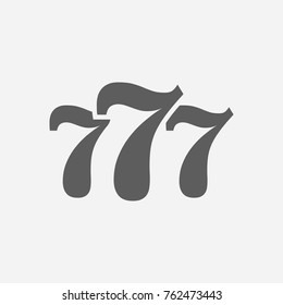 777 icon line. Isolated symbol on casino topic with slot machine, numbers and jackpot meaning lucky 777 icon vector illustration.