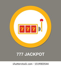 777 jackpot icon, vector casino gambling, machine slot