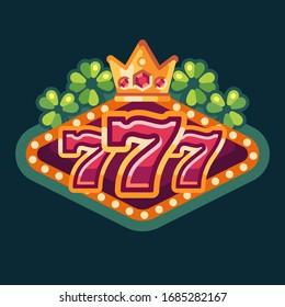 777 lucky casino flat illustration