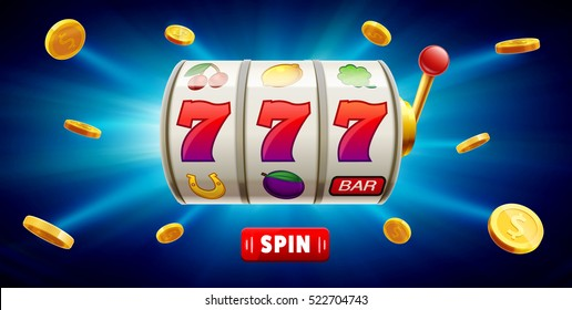 777 slots 3d element isolated on blue background with place for text casino object 777 icons gold coins red button spin