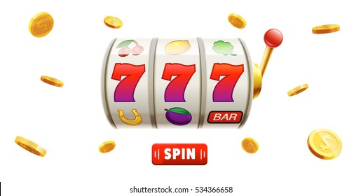 777 slots 3d element isolated on white background with place for text casino object 777 icons gold coins red button spin