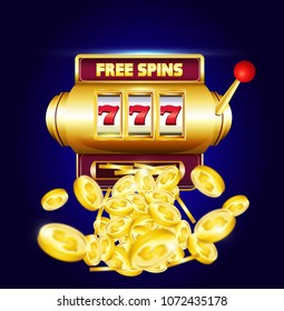 """777 slots 3d machine with big win coins and inscription """"free spins"""".  Lucky sevens jackpot poster for casino on blue background with coins. Vector illustration."""