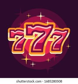 777 symbol on red background. Casino flat illustration