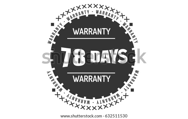 78 days warranty label icon vector vintage