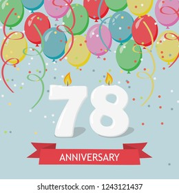 78 years selebration. Happy Birthday greeting card with candles, confetti and balloons