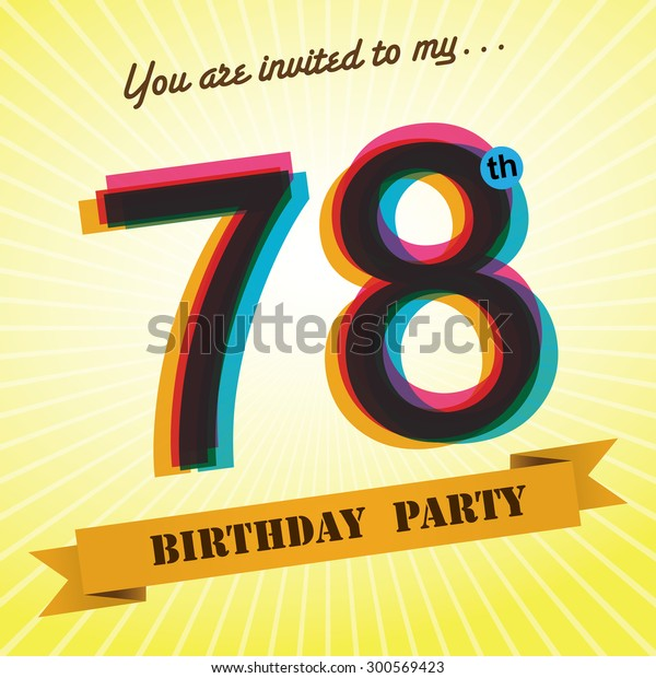 78th Birthday Party Invite Template Design Stock Vector Royalty