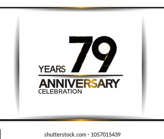 79 years anniversary black color simple design isolated on white background for celebration