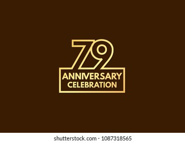 79 years anniversary design, with number formed from line connected with gold square  for celebration event isolated on brown background