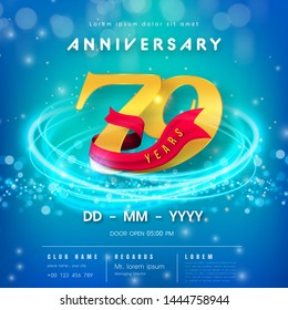 79 years anniversary logo template on blue Abstract futuristic space background. 79th modern technology design celebrating numbers with Hi-tech network digital technology concept design elements.