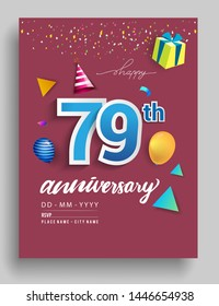79th Years Anniversary invitation Design, with gift box and balloons, ribbon, Colorful Vector template elements for birthday celebration party.