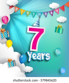 7th Anniversary Celebration Design, with clouds and balloons. using Paper Art Design Style, Vector template elements for your, seven years birthday celebration party.