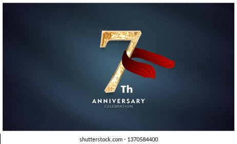 7th Anniversary celebration - Golden numbers with red fabric background