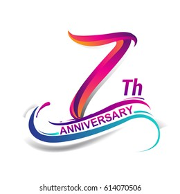 7th anniversary celebration logotype blue and red colored. seven years birthday logo on white background.