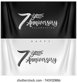 7th Anniversary Celebration Logotype. seven years Anniversary handmade Calligraphy. Vector Illustration.