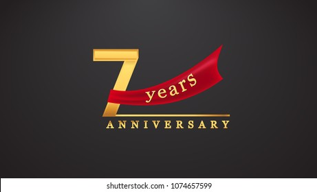 7th anniversary design logotype golden color with red ribbon for anniversary celebration