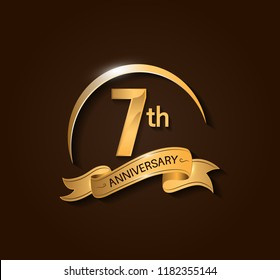 7th Anniversary design logotype. Anniversary logo design with swoosh and elegance golden ribbon. Vector template for use celebration, invitation card, and greeting card