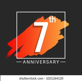 7th anniversary design with orange color brush in square isolated on black background for celebration