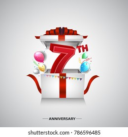 7th anniversary design with red number inside gift box isolated on white background for celebration event