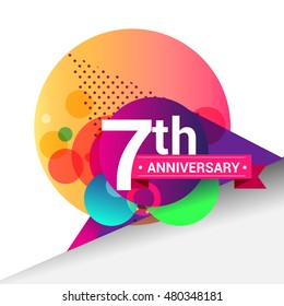 7th Anniversary logo, Colorful geometric background vector design template elements for your birthday celebration.