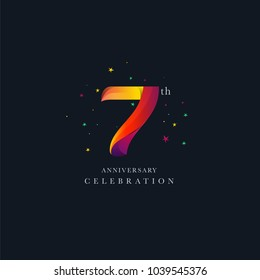 7th Anniversary Logo Design, Number 7 Icon Vector Template.