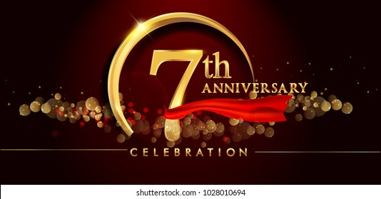 7th anniversary logo with golden ring, confetti and red ribbon isolated on elegant black background, sparkle, vector design for greeting card and invitation card