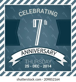 7th Anniversary poster / template design in retro style - Vector Background