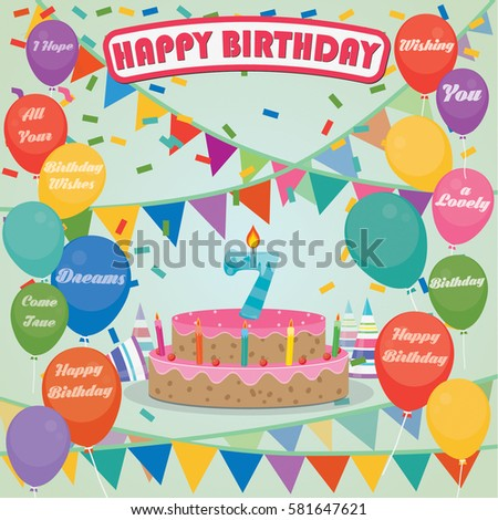 7th Birthday Cake And Decoration Background In Flat Design With Balloons Candles