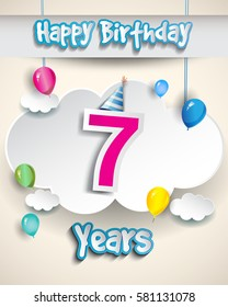7th birthday Celebration Design, with clouds and balloons. Design greeting card and invitation for the celebration party of seven years anniversary