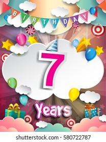 7th Birthday Celebration greeting card Design, with clouds and balloons. Vector elements for the celebration party of seven years anniversary