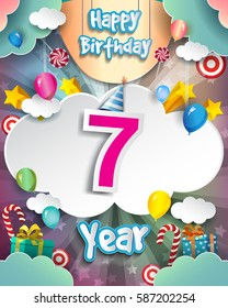 7th Birthday Celebration Greeting Card Design With Clouds And Balloons Vector Elements For The
