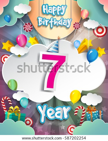 7th Birthday Celebration Greeting Card Design With Clouds And Balloons Vector Elements For The Party Of Seven Years Anniversary
