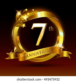 7th golden anniversary logo, 7 years anniversary celebration with ring and ribbon.