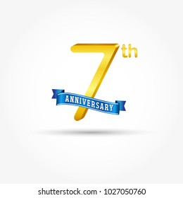 7th golden Anniversary logo with blue ribbon isolated on white background. 3d gold 7th Anniversary logo