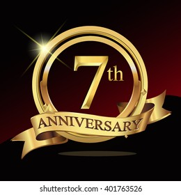 7th golden anniversary logo celebration with ring and ribbon. Vector template elements for your birthday party.