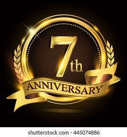 7th golden anniversary logo with ring and ribbon, laurel wreath vector design.