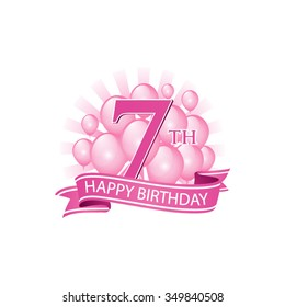 7th pink happy birthday logo with balloons and burst of light